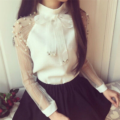 Women Fashion Pearl Bow Blouse Casual Long Sleeve Chiffon Shirt  Slim Blouses