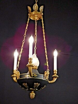 Antique 3 Arm 4 Light French Empire Flame Ormolu Chandelier w Black Accents