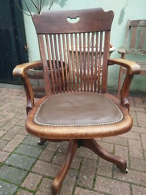 Early 20th Century Oak & Brown Leather Revolving Office Desk Chair