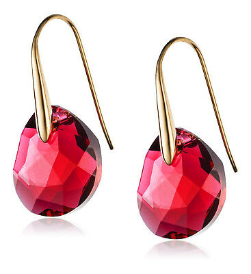 Swarovski Red Crystal Jewelry GALET Pierced Earrings Yellow Gold #5110575 New