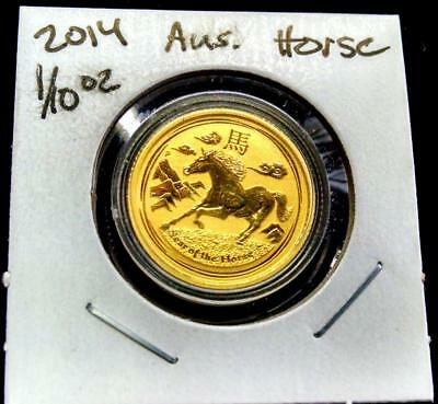 2014 1/10oz .9999 GOLD AUSTRALIA YEAR OF THE HORSE COIN IN CAPSULE
