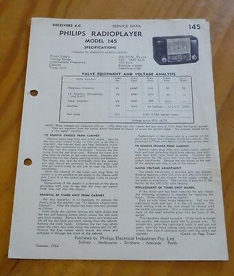 Service Data for Philips Radio model 145 ( radioplayer  ) 1954 brochure