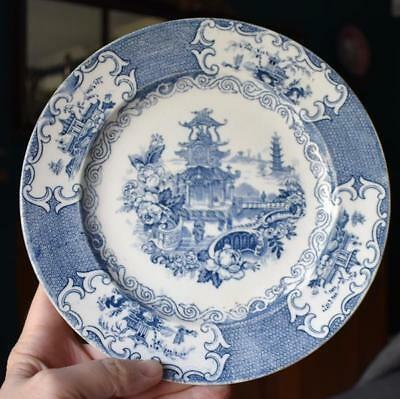 "Lovely Antique English Flow Blue Allertons ""Chinese"" Cabinet Luncheon Plate"