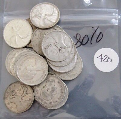 $5.00 Face Value 80% Silver Canada Twenty-Five Cents