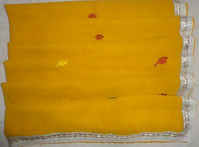 USED BUT WEARABLE Antique Vintage Sari Saree Gs6 Yellow 5 yds #ABKY1