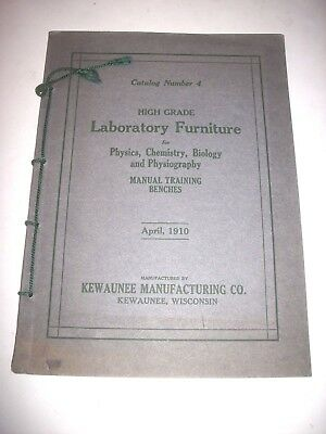 1910 KEWAUNEE Wis. HIGH GRADE LABORATORY Furniture Catalog #4 Vise Benches CLEAN