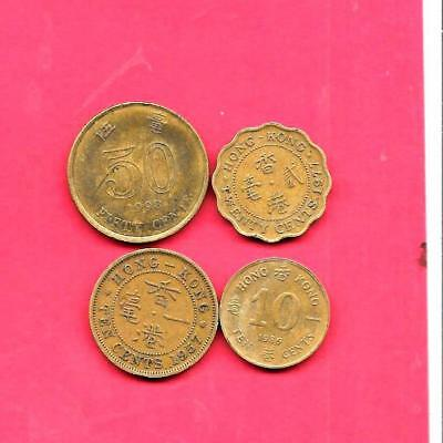Hong Kong 4 Diff Different 1957-1998 Circ Coin Lot Collection Set Group W Old