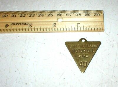 Vintage Conoco Germ Processed Motor Oil Marker Brass Tag 40 Weight Free Ship