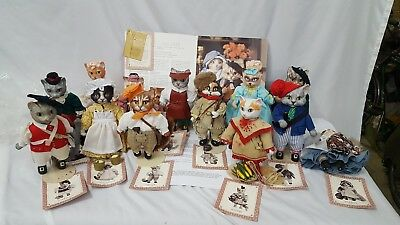 Lot of 13 Franklin Mint Collectible Porcelain Cat Dolls 1987