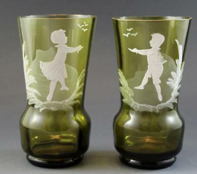 Mary Gregory Antique Cranberry Art Glass Pair Cabinet Vases Children w/ Birds