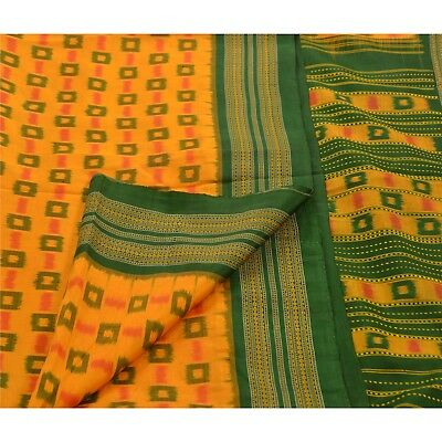 Sanskriti Vintage Indian Saree Woven Patola Sari Fabric 100% Pure Silk Saffron