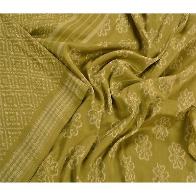 Sanskriti Vintage Indian Saree Woven Patola Sari Fabric 100% Pure Silk Green