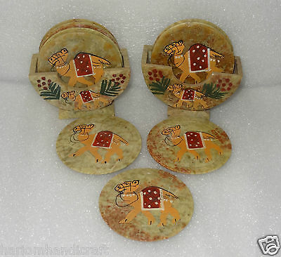 Marble Set 2 Tea Coffee Coaster Set Camel Hand Painted Arts Friends Gifts H247