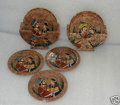 Marble Set of 2 Tea Coffee Coaster Set Hand Painted Garden Home Decor Gifts H246