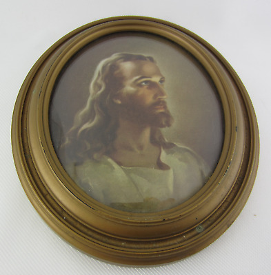 Vintage HEAD OF CHRIST Picture By Sallman Oval JESUS Picture With Convex Glass