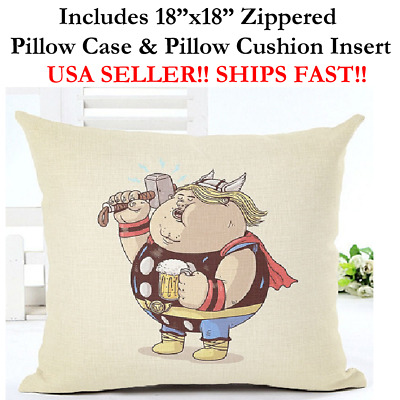 "18x18 18"" FAT THOR JOKES FUNNY PRANKS Marvel DC Comics Zippered Pillow Cushion"