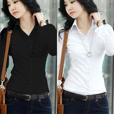 US Women Short/Long Sleeve Classic Collar TShirt Button Down Blouse Top OL Shirt