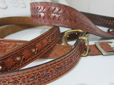 Lot of 3 1960s / 70s Vintage Tooled Braided LEATHER Belts - Large / X Large
