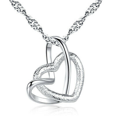 Fashion 925 Silver Plated Women Heart To Heart Pendant Necklace Chain Jewelry
