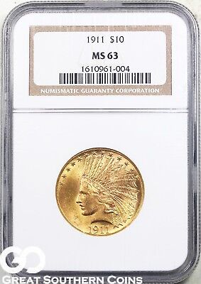 1911 NGC Gold Eagle, $10 Gold Indian NGC MS 63 ** Gorgeous Swirling Mint Luster!