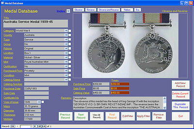 Medal Collection Image Database Software CDROM for Windows