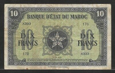 MOROCCO 10 francs 1-5-1943 P25a VF WW II note printed in US