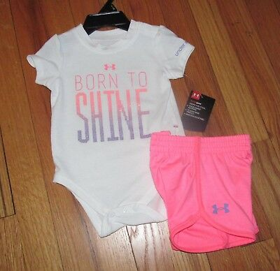 Under Armour Baby Girl White Pink Shine Shirt Short Set 3-6M, 6-9M NWT