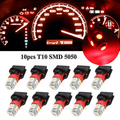 10x Red T10 SMD 194 LED Bulbs for Instrument Gauge Cluster Dash Light W/ Sockets