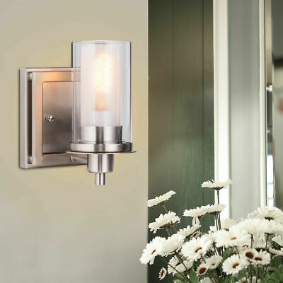 2 bulb bathroom vanity light fixture wall mount with plug in outlet rh picclick com Bathroom Vanity Light with Outlet Vanity Light with Electrical Outlet