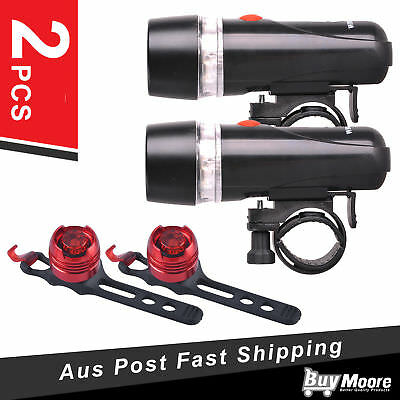 2x 5 LED Bicycle Bike Cycle Front Head Light + Rear Safety Flashlight Lamp Cycle