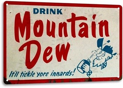 Mountain Dew Vintage Retro Tin Metal Sign