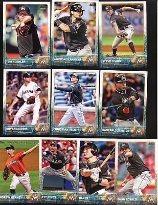 Topps 2015 Complete Set MIAMI MARLINS-19 Cards