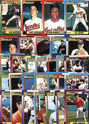 Topps 1990 Baltimore Orioles Complete Set-33 Cards