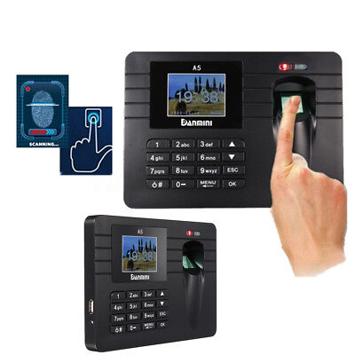 2.4'' Time Recorder Fingerprint  Attendance Clock Machine USB Office + Password