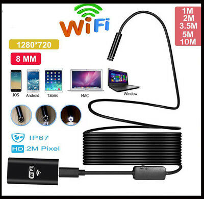 8LED Rigid WIFI Endoscope Wireless Borescope Inspection Camera For Androi iPhone