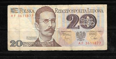POLAND #149a 1982 VG USED 20 ZLOTYCH OLD BANKNOTE PAPER MONEY BILL NOTE