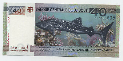 Djibouti 40 Francs 2017 Pick New UNC Uncirculated Banknote Shark 40 Anniversary