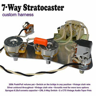 DELUXE 7-WAY STRATOCASTER Strat Wiring Kit - Push/Pull Pot Hand ...