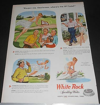 "1957 WHITE ROCK water Advert Psyche looks for 19th hole~GOLFERS say ""men only!"""