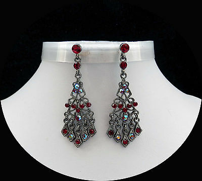 Vintage Chandelier Earrings with Siam Australia Crystal Perfect Gift E2288