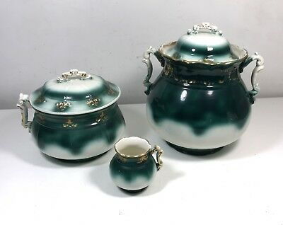 Antique Victorian HAYNES BALTIMORE Corsican Stoneware Chamber Pot Set w/Pitcher