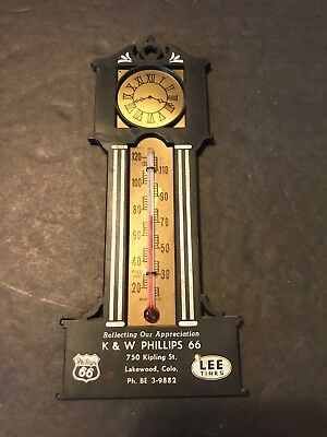 Vtg Gas & Oil Phillips 66 & Lee Tires Advertising Thermometer Grandfather Clock