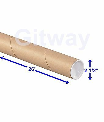 """2 1/2"""" x 26"""" Cardboard Poster Shipping Mailing Mail Packing Postal Tube 34 Tubes"""