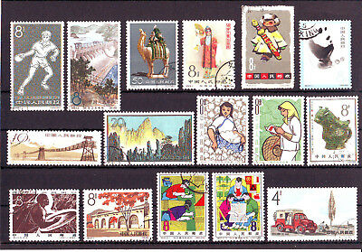 China,1961-64, 16 diff. used stamps (2), small faults