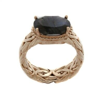 HSN Technibond Oval Laradorite 14K Yellow Gold Over Byzantine-Style Band Ring 10