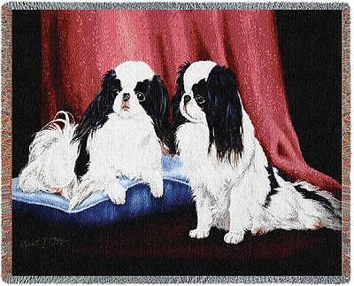 Throw Tapestry Afghan - Japanese Chin Pair by Robert May 1440