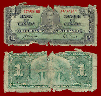 """1937 (Bank Of Canada) One Dollar """"heavily Circulated"""" $1 Note 0460"""