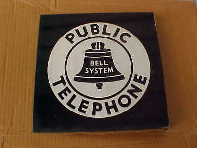 "Vintage BELL SYSTEM PUBLIC TELEPHONE Double-Sided FLANGE SIGN 11x11"" Porcelain"