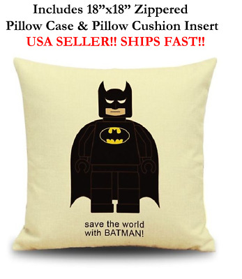 "18x18 18"" BATMAN LEGO MAN MINI Zippered Throw Pillow Cushion Marvel DC Comics"