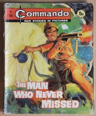 """COMMANDO # 553 """"The man who never missed"""" published 1971. War Picture Library."""